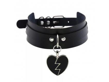 CHOKER / nárdelník - černý náhrdelník s kovovým srdcem