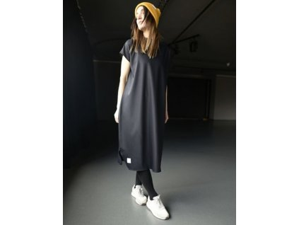 BIOGA šaty VOLVER DARK NAVY s krátkým rukávem
