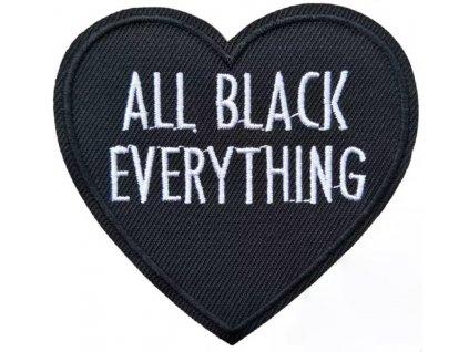 VYŠÍVANÁ NÁŠIVKA - nažehlovací obrázek / ALL BLACK HEART
