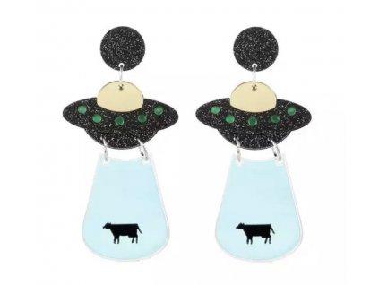 Náušnice UFO unášející krávu II.