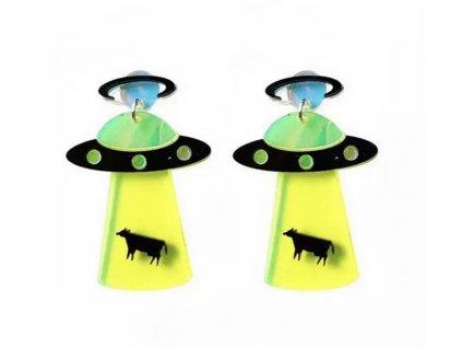 Náušnice UFO unášející krávu III.