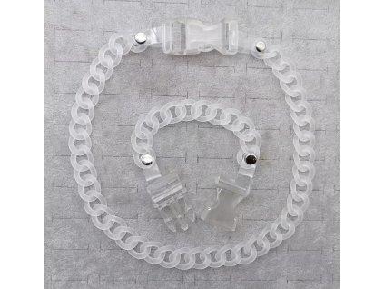 DARK náhrdelník - průhledný řetěz s přezkou / chain with buckle
