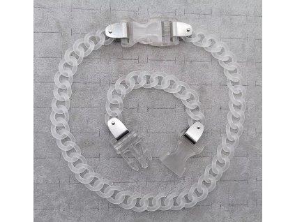 DARK náhrdelník - průhledný řetěz s přezkou II. / chain with buckle