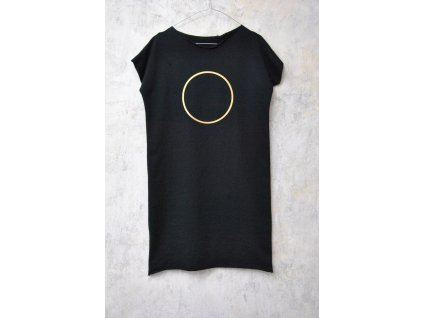 ARTGI Šaty černé 100 % bavlna, výkroj výstřih, zlatý kruh + kroužek / 21.