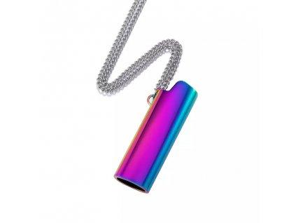 Náhrdelník / obal na zapalovač - oil slick / silver