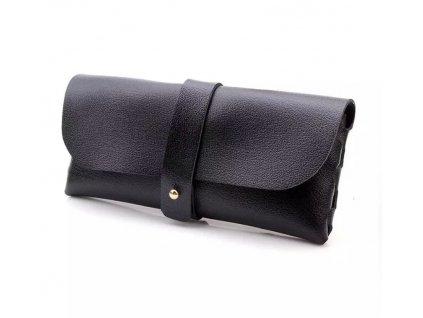 Koženkový černý obal na brýle s páskem