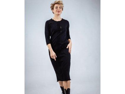 KRAPA dámská černé šaty s pruhem a kapsami