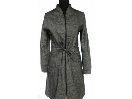 KRAPA dámské šedé lněné šaty / kabátek