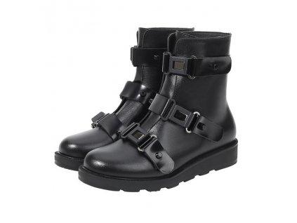 KAI OTOKO černé polovysoké boty s přezkami