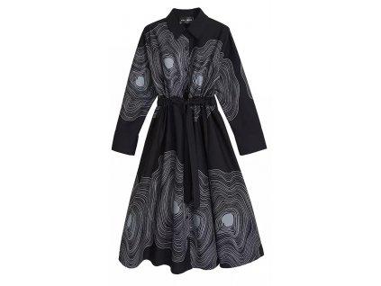 Košilové šaty černé WAVY s dlouhým rukávem