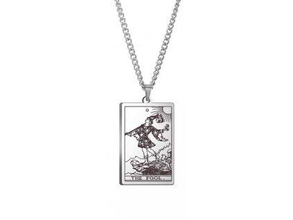 DARK TAROT náhrdelník z nerez oceli / stříbrný - THE FOOL
