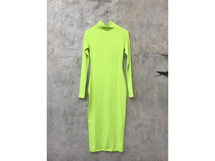 Šaty polodlouhé neonové žluté se zipem na krku