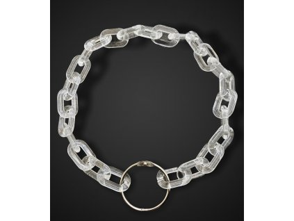 Things by E. náhrdelník - průhledný řetěz se stříbrnou kulatou karabinou