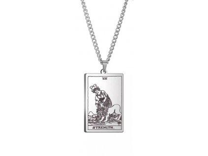 DARK TAROT náhrdelník z nerez oceli / stříbrný - STRENGHT