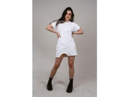 MAYAM bílé tričkošaty s krátkým rukávem