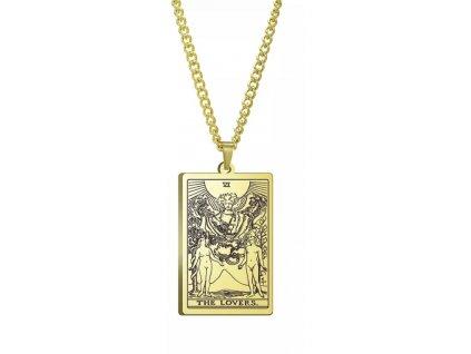 DARK TAROT náhrdelník z nerez oceli / zlatý - THE LOVERS / MILENCI