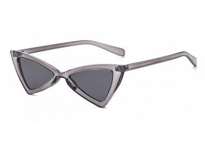 Sluneční brýle Cat Eye trojuhelníkové antracit průhledné