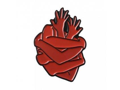 Pin / Brož destička Srdce ruce - červené