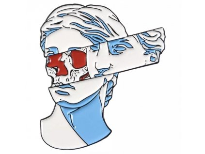 Pin / Brož destička Antická hlava / lebka