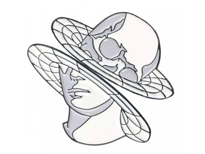 Pin / Brož destička dvoudílná obličej / lebka 2