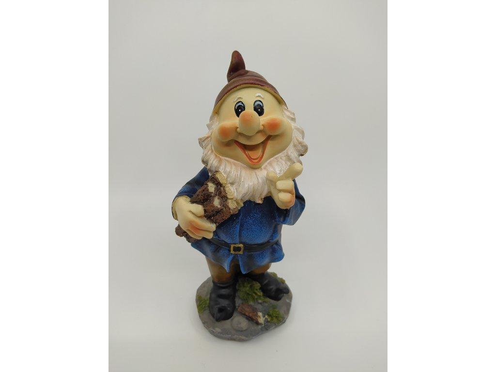 Zahradní figurka - trpaslík modrý s dřívím