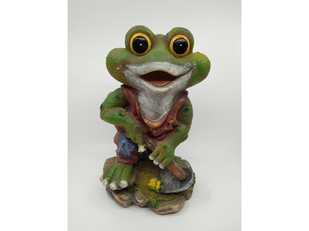 Zahradní figurka - žabák s motykou
