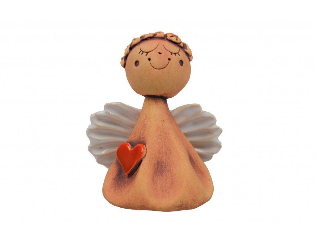 Anděl - Zasněný s červeným srdíčkem