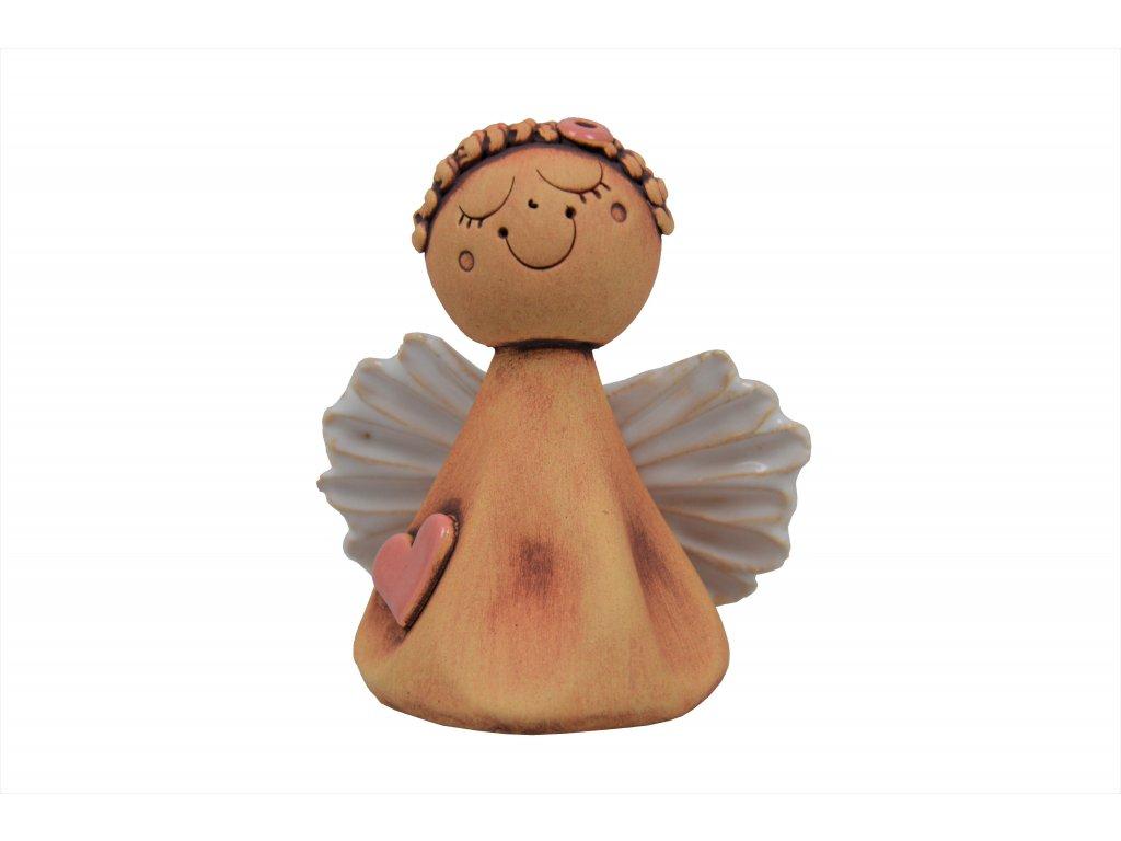 Keramický anděl - Zasněný s růžovým srdíčkem 1