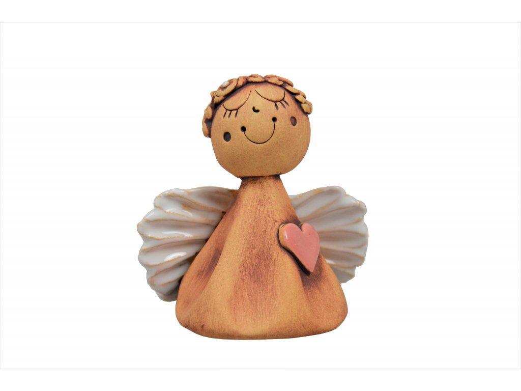 Anděl - Zasněný s růžovým srdíčkem 2