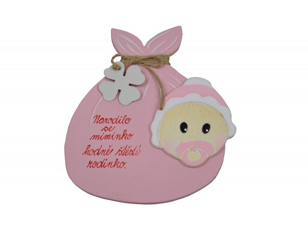 Přání - K narození miminka růžové