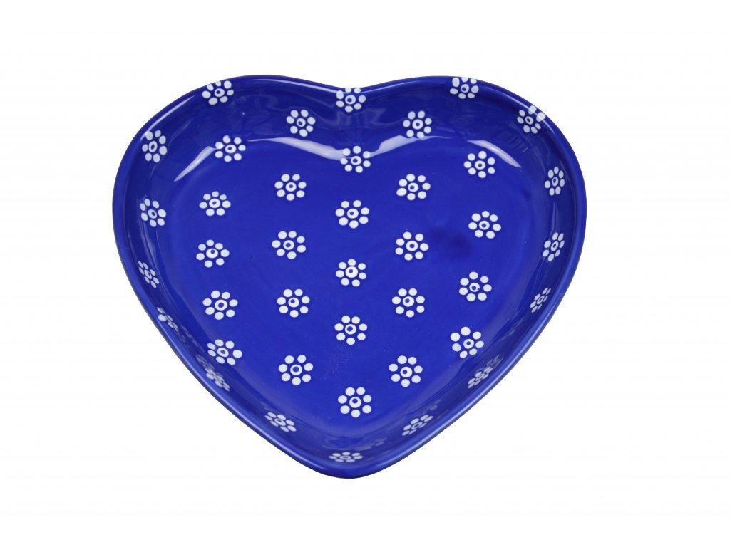 Miska srdíčko velká - Modrá s květy
