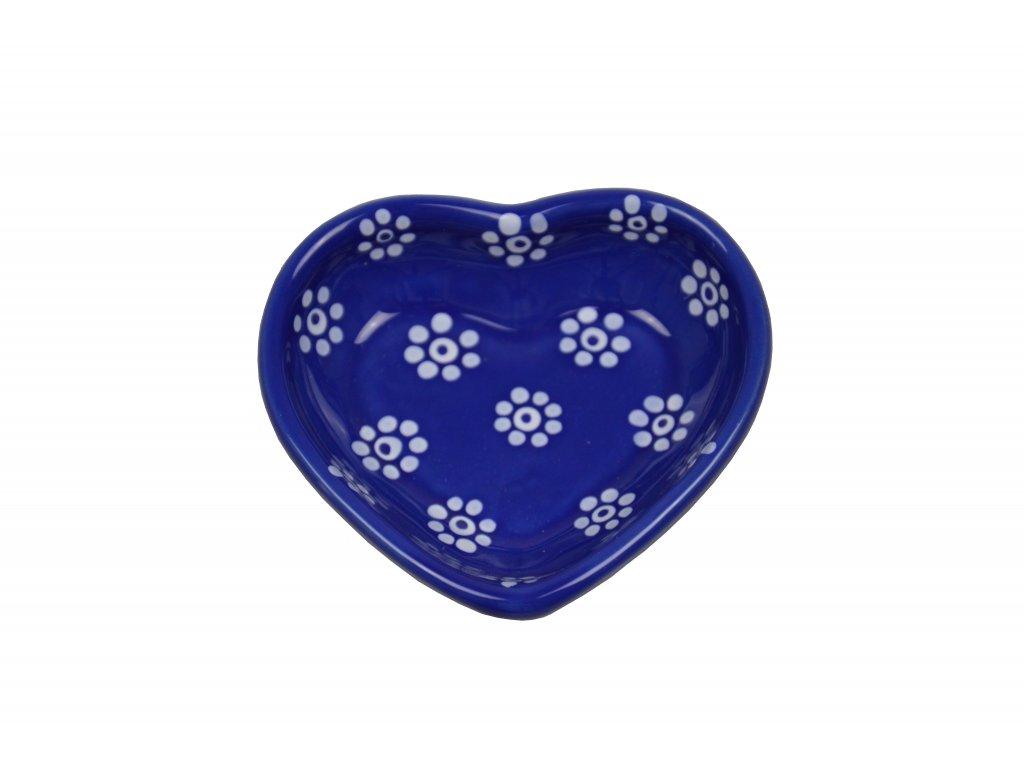 Miska srdíčko malé - Modré s květy