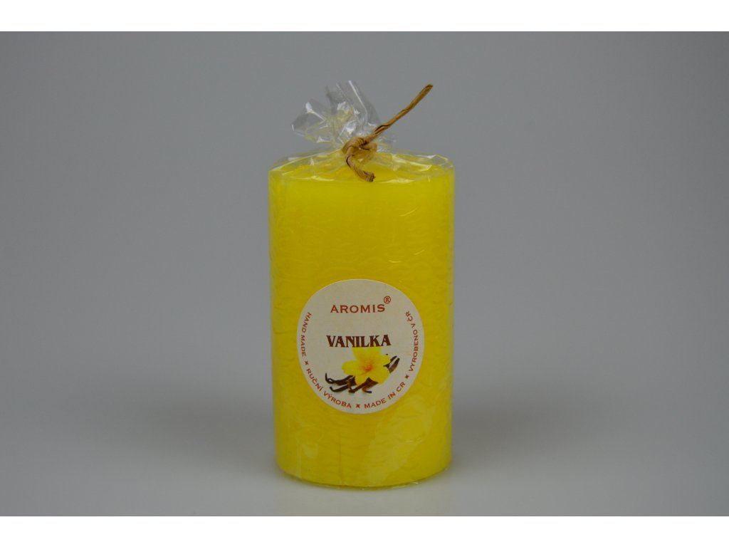 Svíčka Aromis válec žlutá - Vanilka