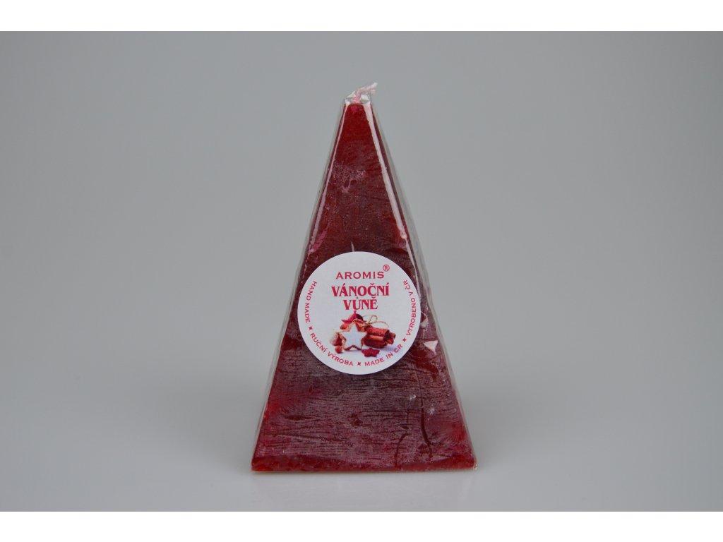 Svíčka Aromis jehlan červená - Vánoční vůně