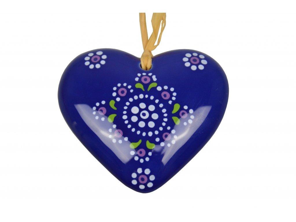 Keramické srdíčko - Modré s krajkou