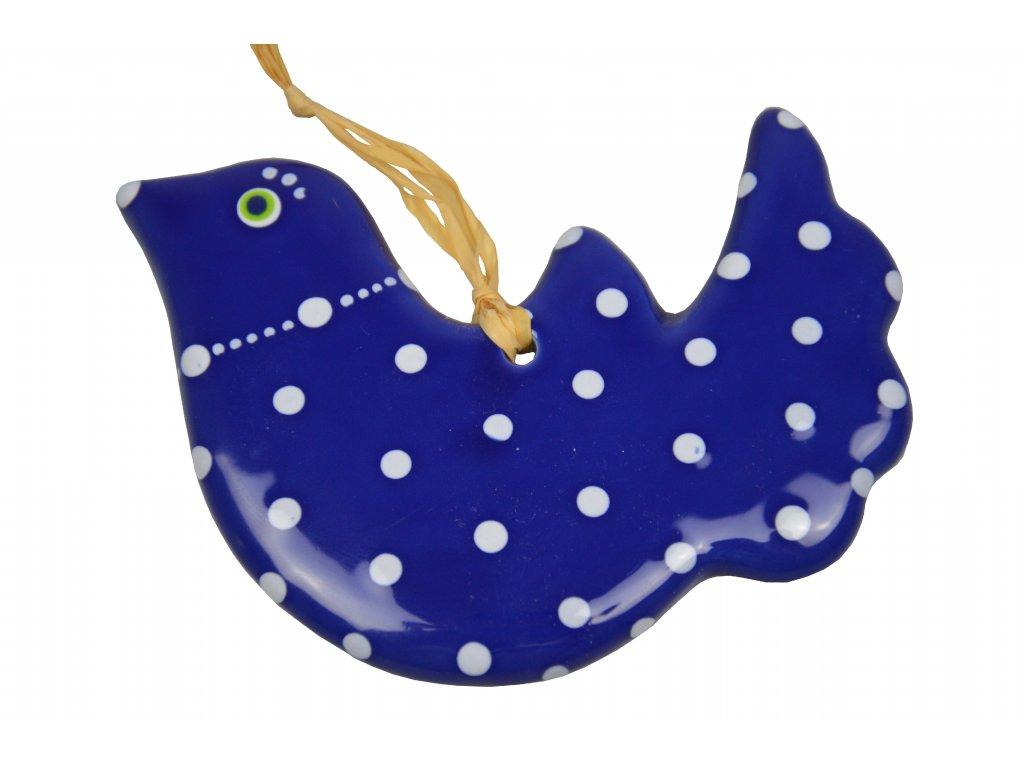 Keramická holubička - Velká modrá s puntíky