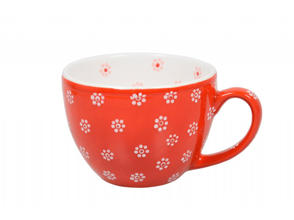 Na čaj - červený s kytičkami