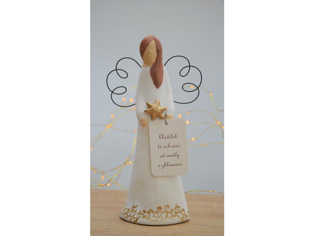 Keramický anděl malý vánoční - bílo-zlatý 1