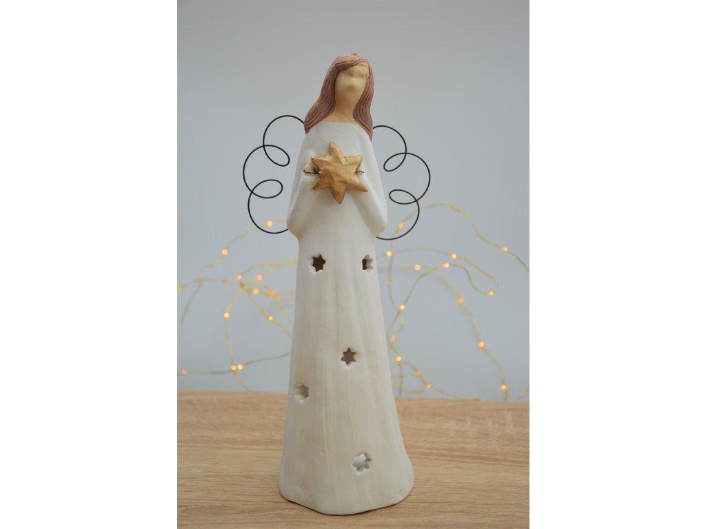 Keramický anděl velký vánoční - na svíčku 1