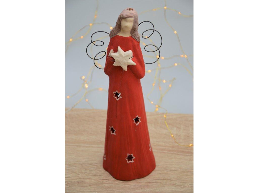 Keramický anděl velký vánoční - na svíčku 2