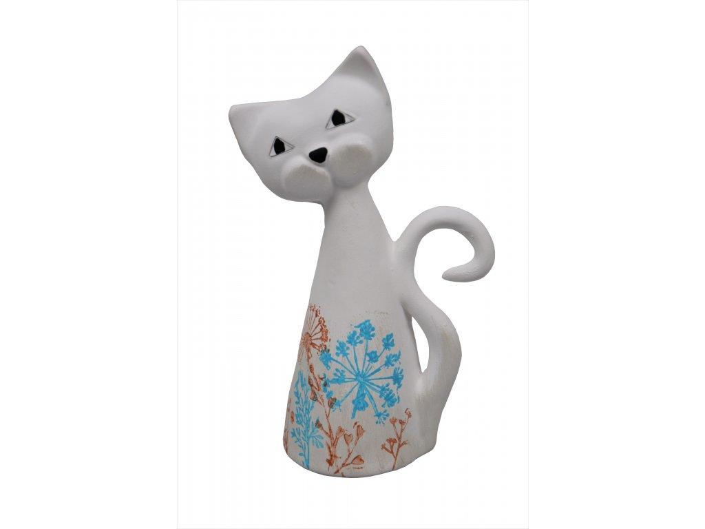 Keramická kočka - S květy