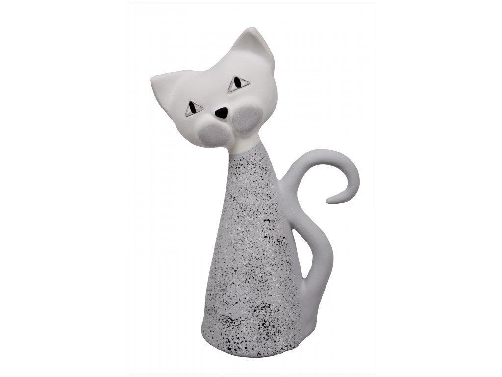 Keramická kočka - Šedá