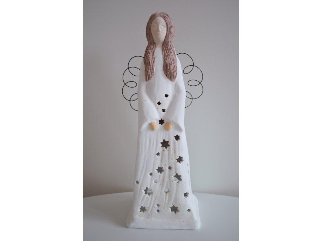 Keramický anděl velký vánoční 36 cm - na svíčku