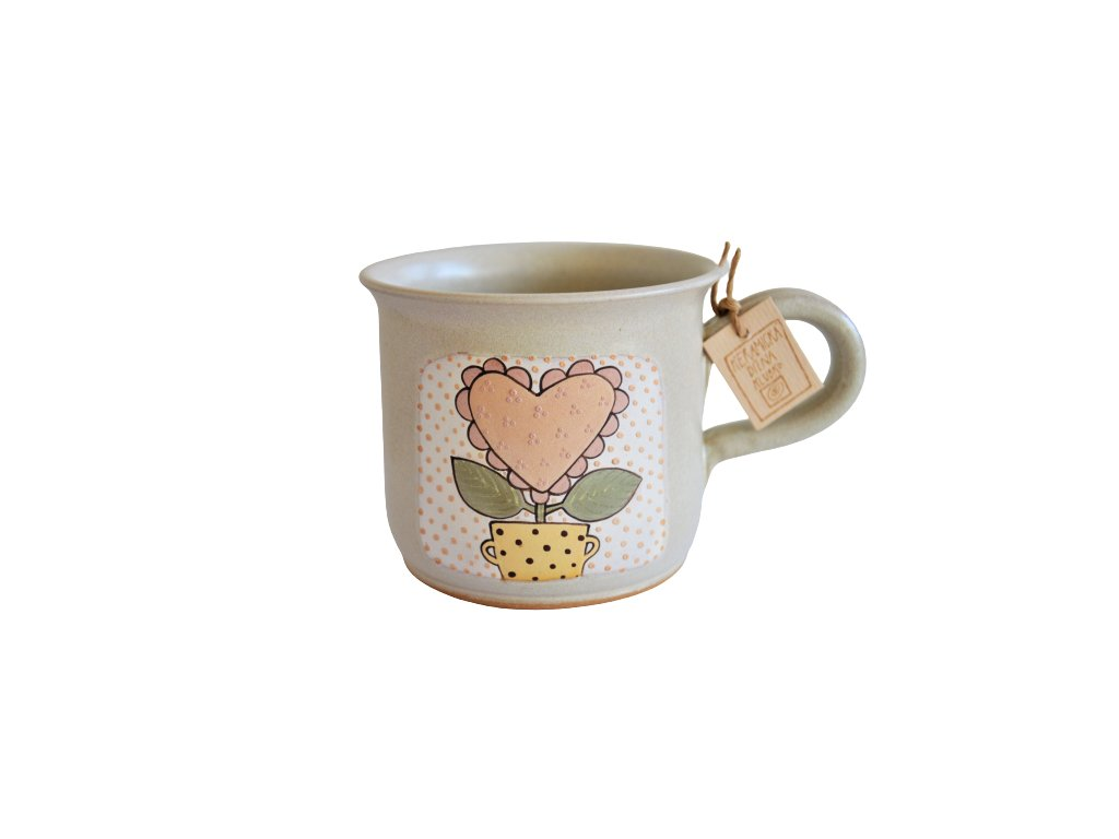 Hrnek keramický káva - Kytka