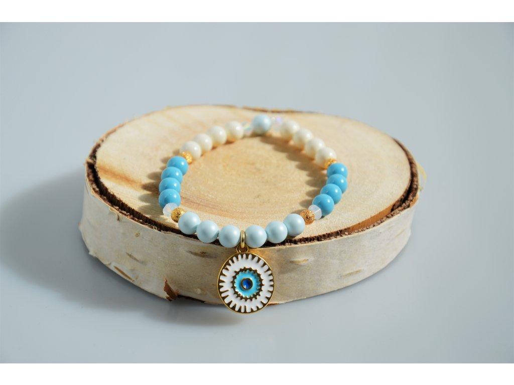 Náramek SWAROVSKI Crystal pearls - modro-bílý