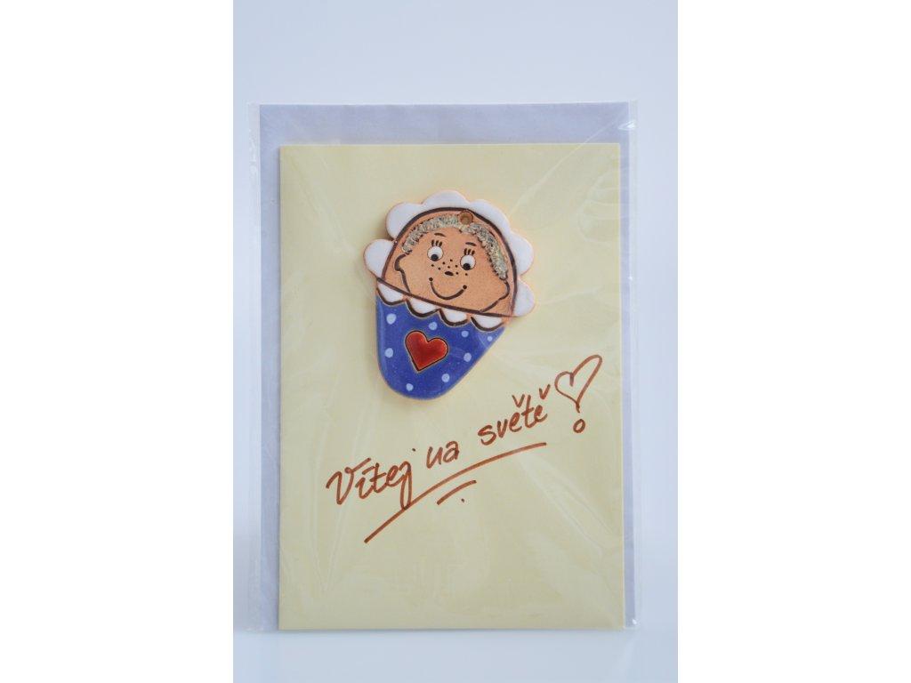 Přání k narození miminka - keramické modré