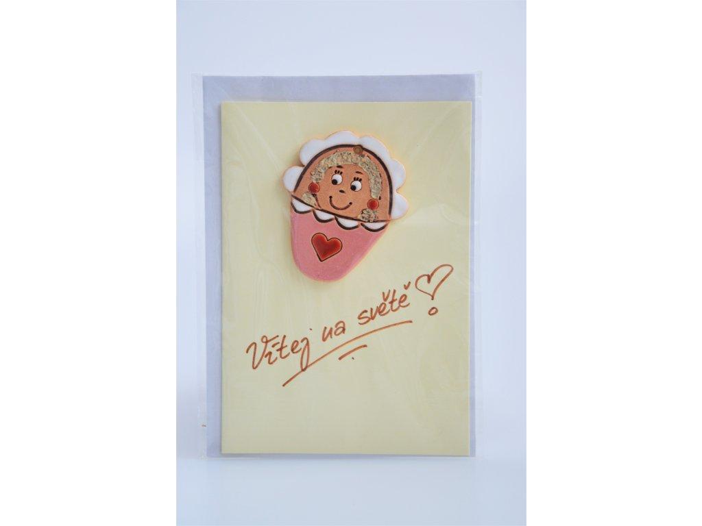Přání k narození miminka - keramické růžové 2