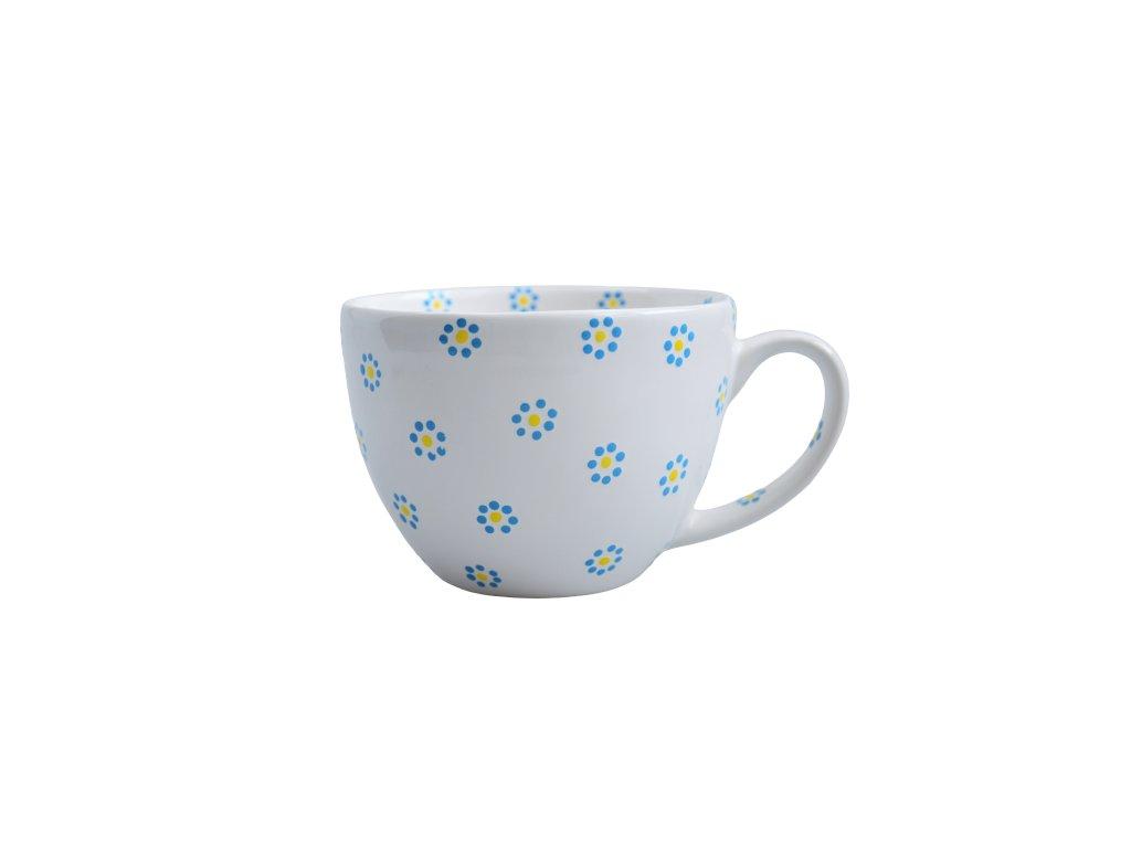 Hrnek na čaj - Bílý s pomněnkami