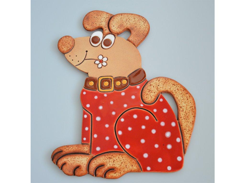 Keramický pes - červený