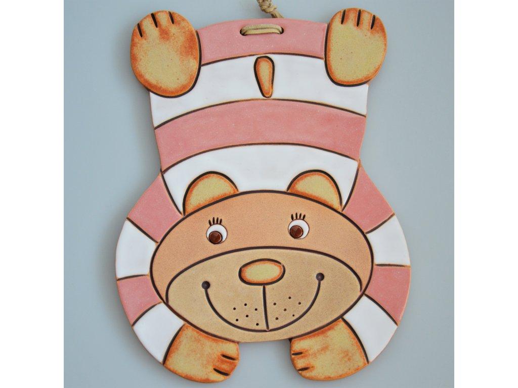 Keramický medvídek  - pruhovaný